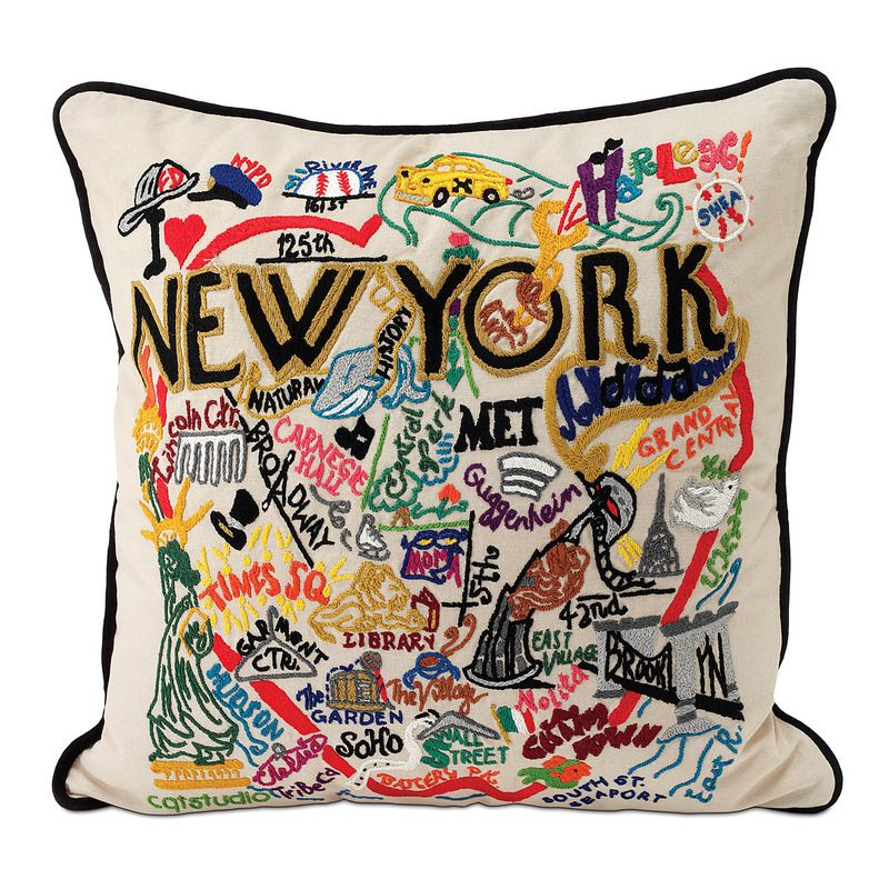 Hand embroidered city pillows detailed colorful highlights and landmarks from new york san francisco boston and other american cities