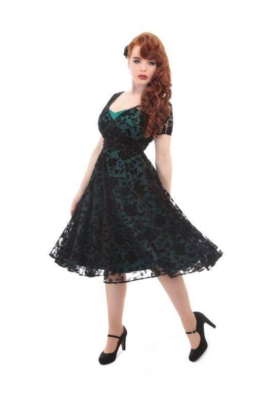 Collectif Vintage Nina Brocade Velvet Rose Swing Dress - Collectif ...