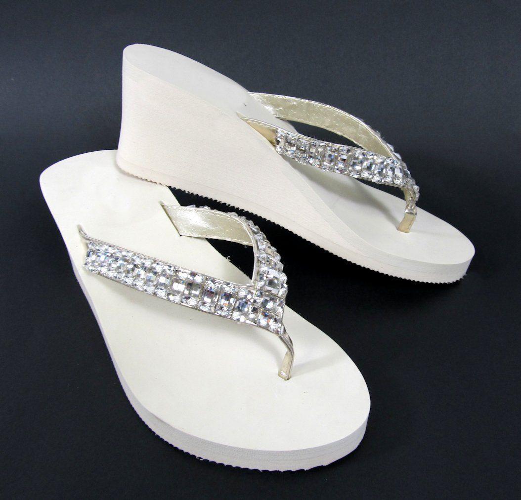 95734808ce0b1 Ivory Bridal Wedge Flip Flops with Rhinestone Straps  32.95 Zapatos De  Boda