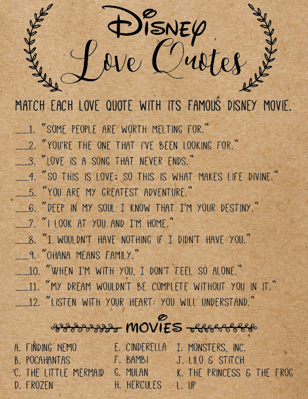 Disney Love Quotes Disney Love Quotes Bridal Shower Game Disney Bridal Shower Games