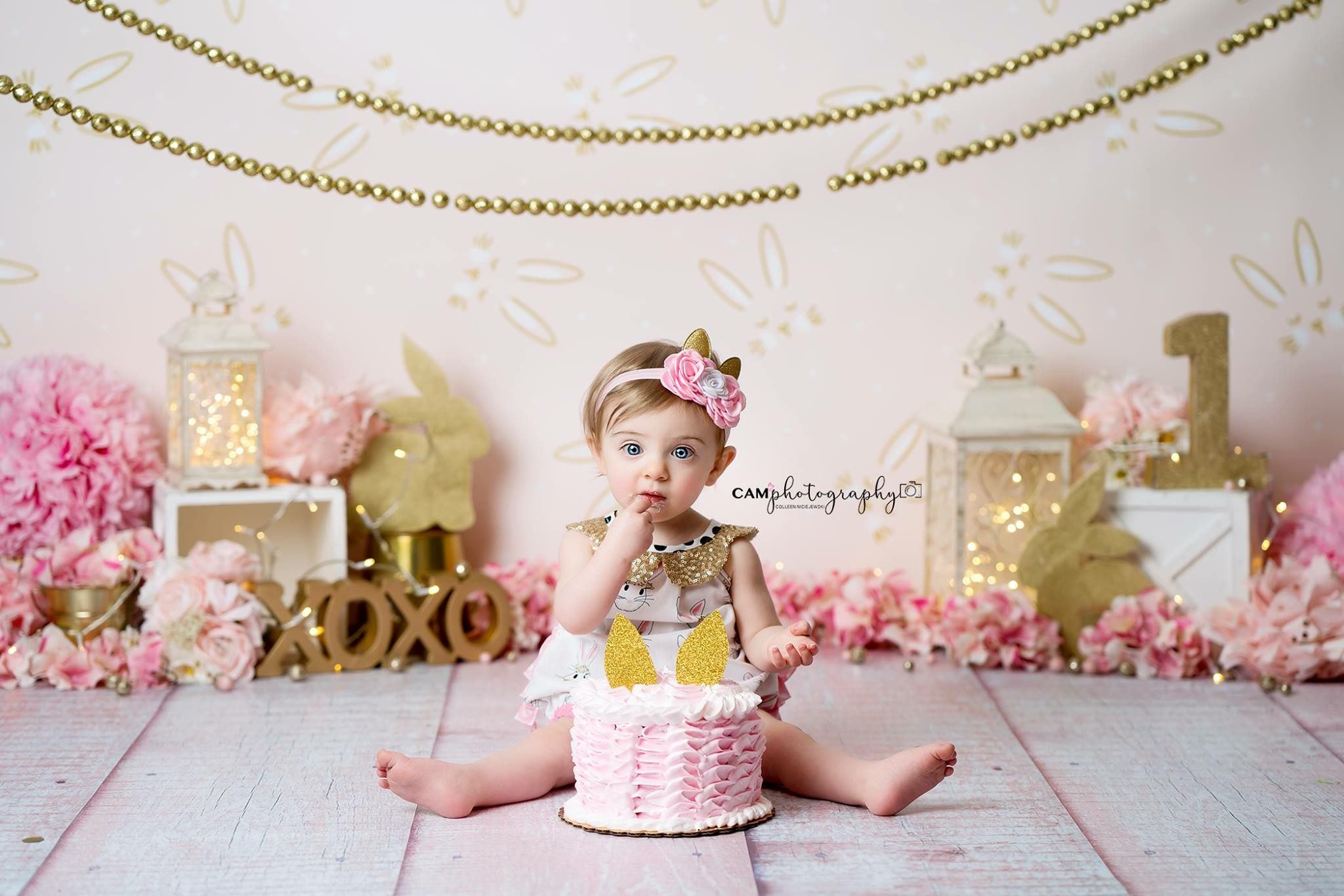 Gold And Pink Pink Baby Girl Cake Smash Love Smash