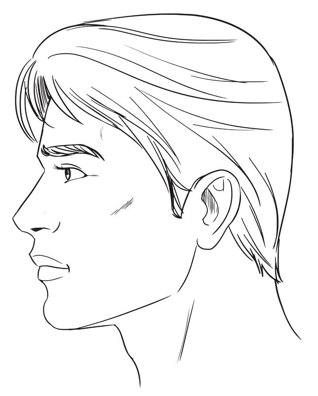 Lineart Of Masculine Male Face In Profile View Great Reference For Artists To Depict Manly Facial Feature Face Profile Drawing Silhouette Drawing Face Profile