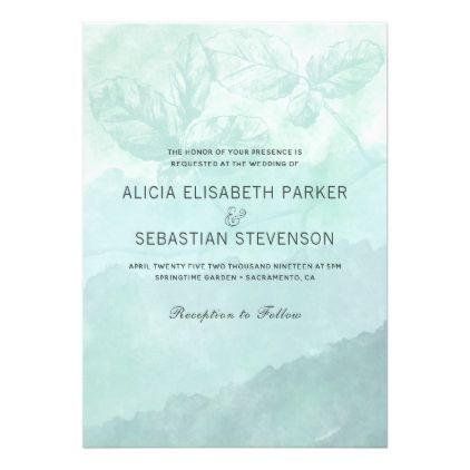 Watercolor aqua blue hombre botanical wedding card