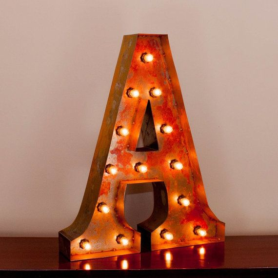 Light Up Theater: Vintage Marquee Light Rusted Home Decor 24 Inch Letter R