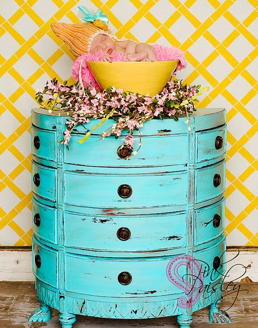 Deliciously blue and yellow--look at those cute little semicircular  drawers. Aqua DresserTurquoise DresserYellow TurquoiseAntique FurniturePainted  ... - Deliciously Blue And Yellow--look At Those Cute Little Semicircular