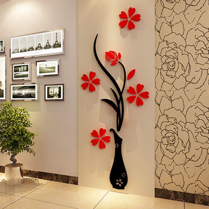 Us 6 49 Creative Vase Acrylic 3d Stereo Wall Sticker Hallway