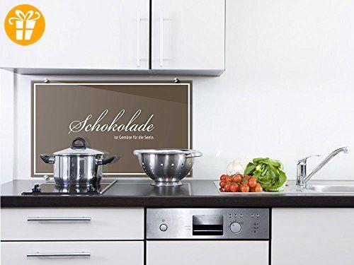 Küchenrückwand Spritzschutz aus Glas Spruch Schokolade ist Gemüse