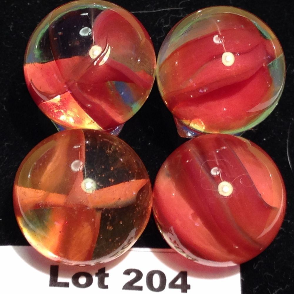 VINTAGE MARBLES 4 RED CAT'S EYE MARBLES LOT 204 50