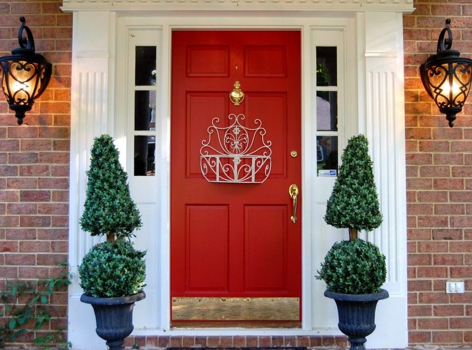 Potted Topiary Plants For Brick House Design Using Bright Red Front Door Exciting
