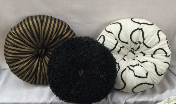 Round Pillow in Linen, Black & White, with Curvy Outline with sheer black tape