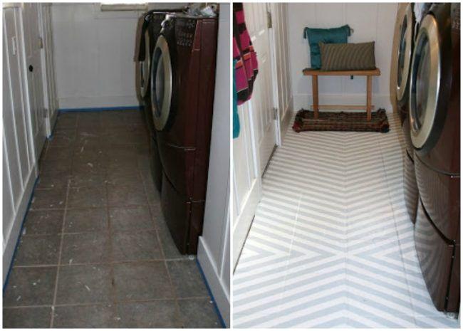 fliesen streichen waschk che boden vorher nachher streifen umbau pinterest fliesen. Black Bedroom Furniture Sets. Home Design Ideas