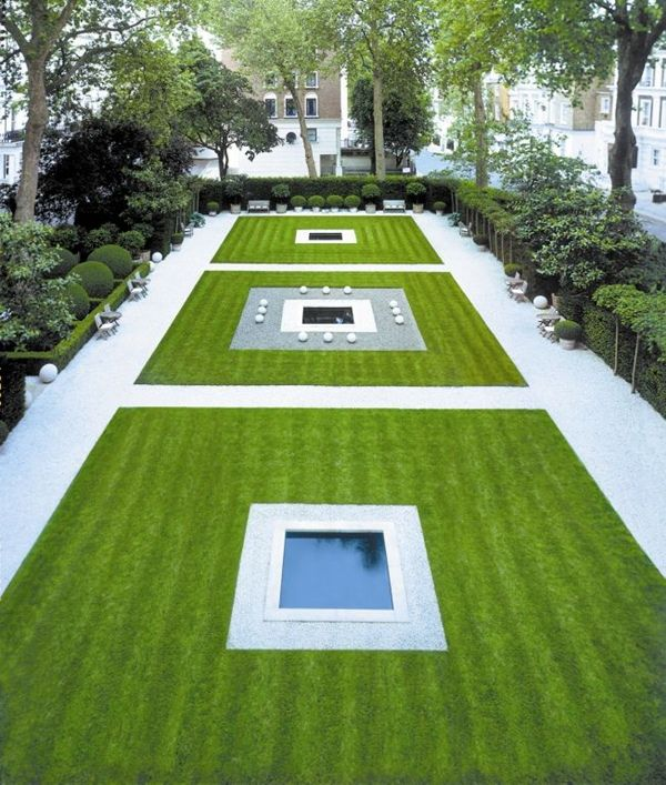 Stunning and symmetrical garden designed by  Anouska Hempel .