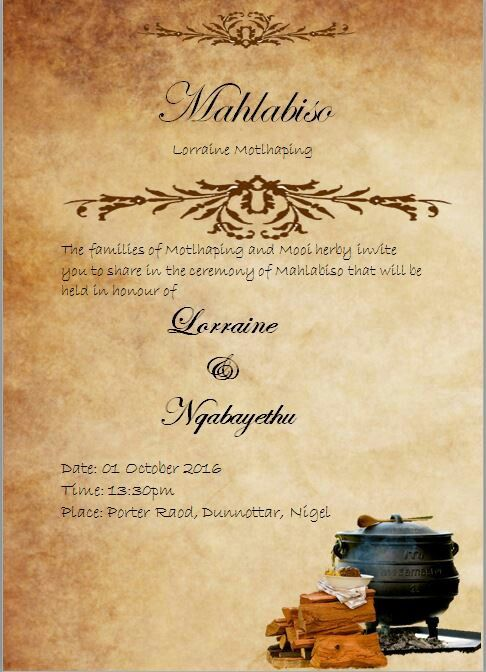 Thando South African Umembeso Traditional Wedding Invitation - best of invitation maker needed