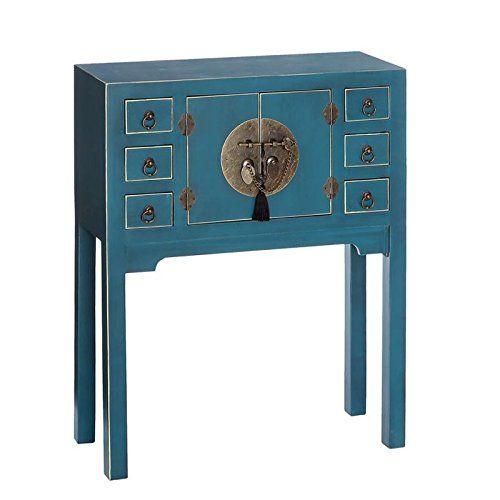 Console 2 portes, 6 tiroirs Bleue Meuble Chinois - PEKIN - L 63 x l