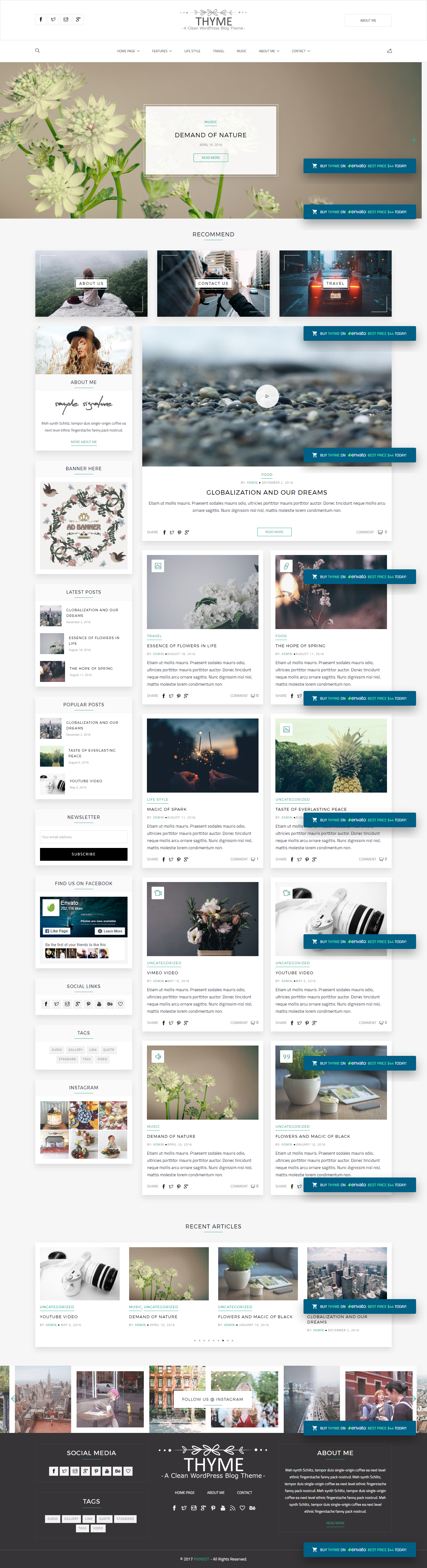 Thyme A Responsive Wordpress Blog Theme Wordpress Blog Themes