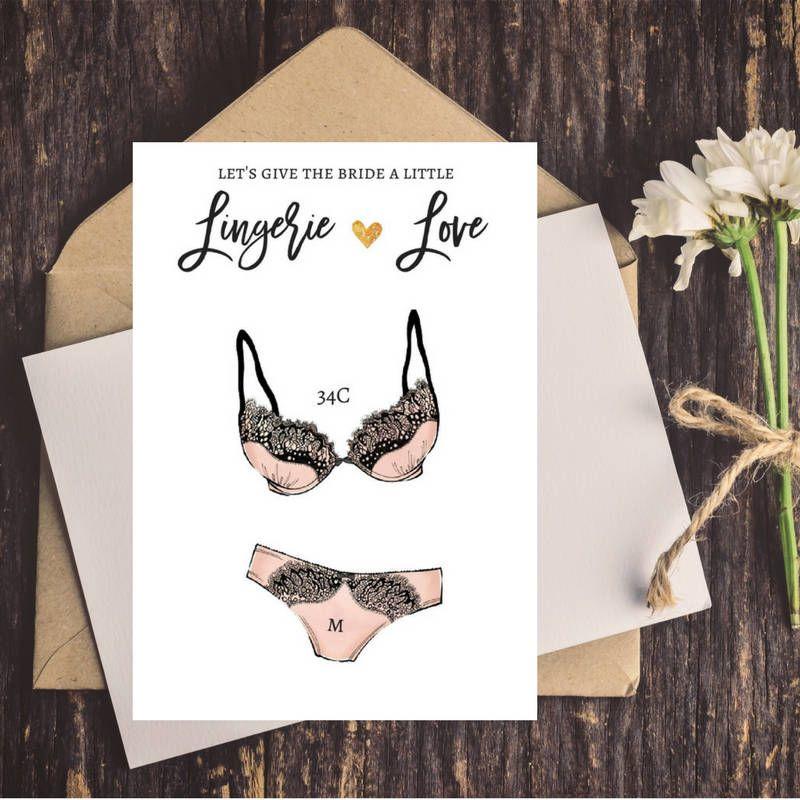 Customized Digital Lingerie Size Insert Bridal Shower