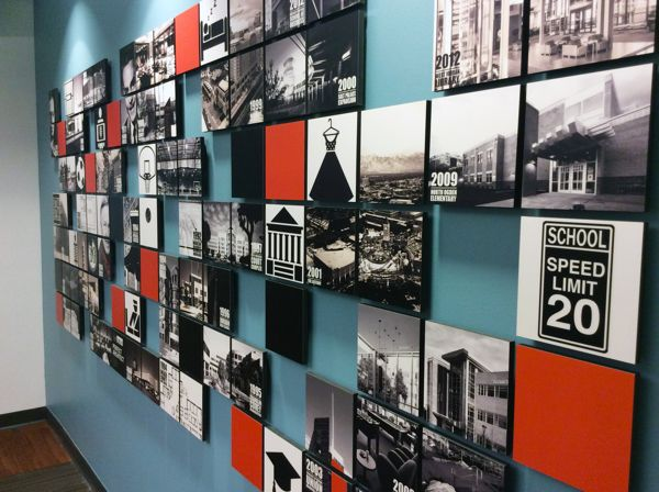 nice image grid - MHTN ARCHITECTS, INC HISTORY WALL by Lindsey Cowley, via Behance