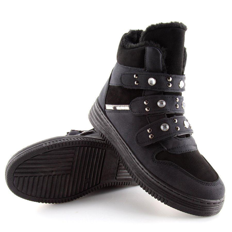 Tenisowki Damskie Obuwiedamskie Ocieplane Trampki Za Kostke Czarne Zjy 29 Obuwie Damskie Sneakers All Black Sneakers Black Sneaker