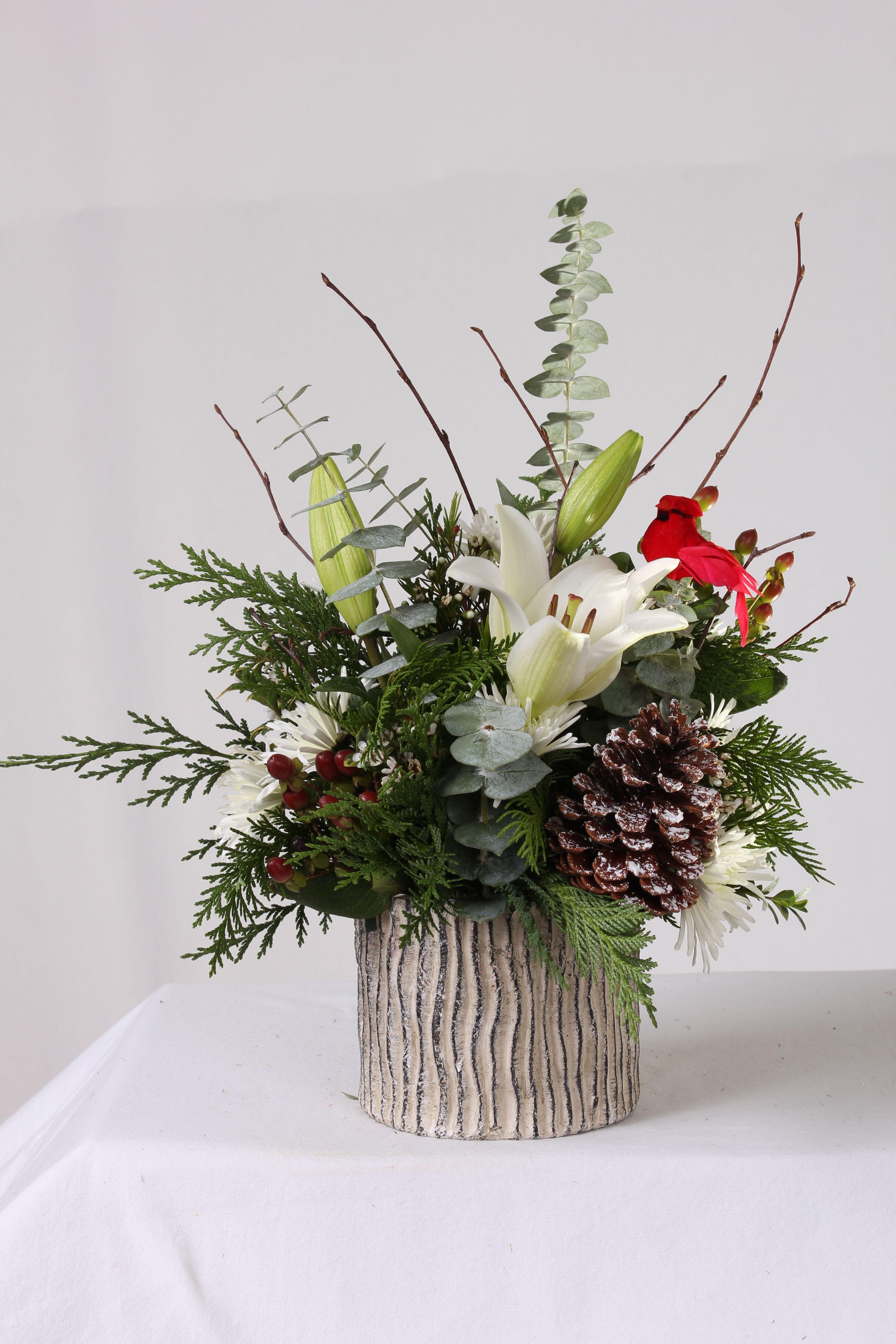 Birch inspired winter holiday flower arrangement