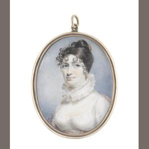 English School, circa 1815  A Lady, wearing white dress with fill-in and frilled collar,