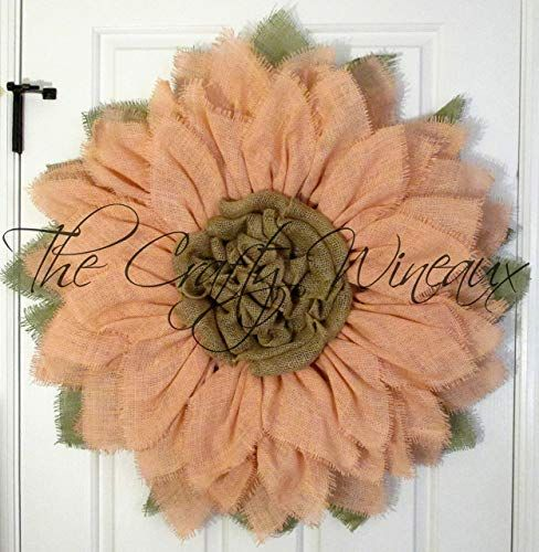 Photo of Amazon.com: Extra Large 30″ Peach Pink Burlap Sunflower Wreath by The Crafty Wineaux™: Handmade