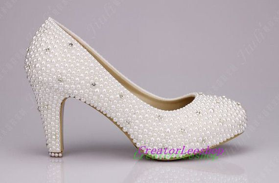 Wedding Shoes Ivory 3 Inch Closed Toe Bridal Heels Pearl Covered With White Swarovski Crystal