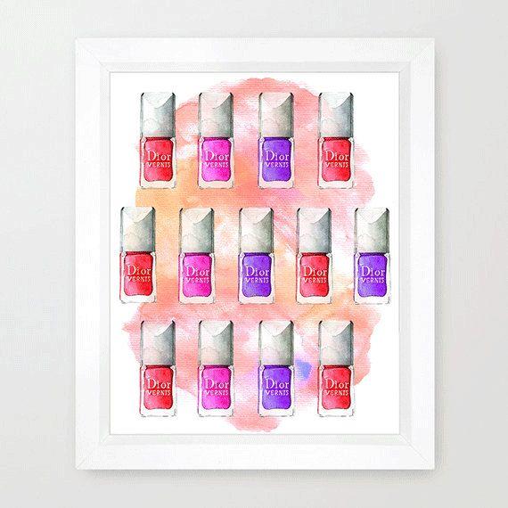 Nail polish fashion illustration Dior by RongrongIllustration