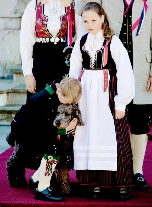 Prince Sverre Magnus and Princess Ingrid Alexandra of Norway and their dog Milly Kakao celebrate National Day at Skaugum on May 17, 2016.