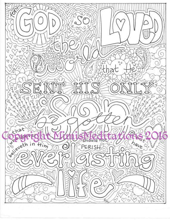 Coloring Page For God So Loved the World   Kolor Me Scriptures ...