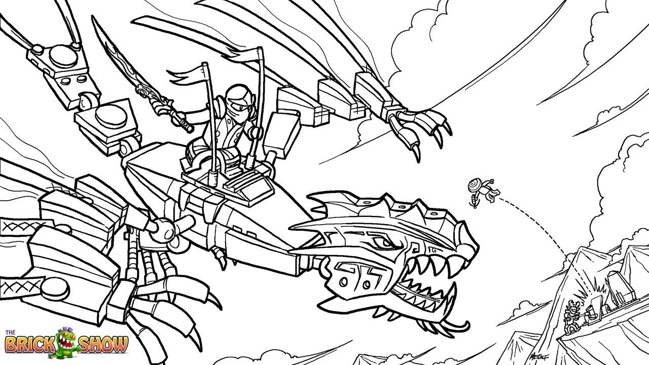 Cole ninjago coloring games online for kids - Lego Ninjago Coloring Page Lego Lego Ninjago Golden Dragon Under Attack Printable Color Sheet