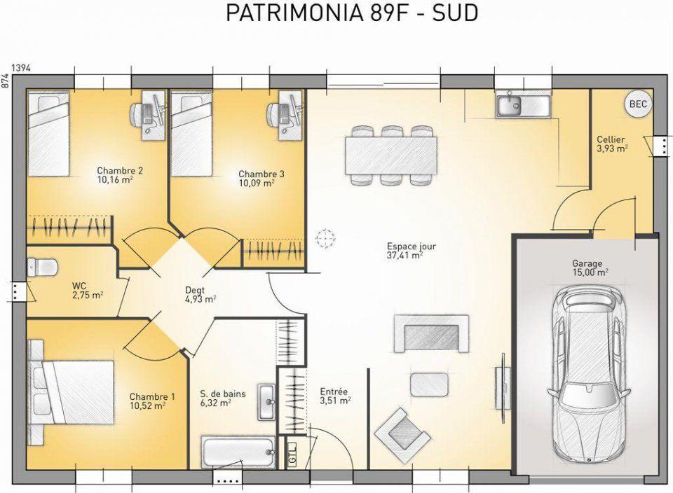 Plan maison neuve construire maisons france confort patrimonia 89 f plan maison for Les plans des maisons