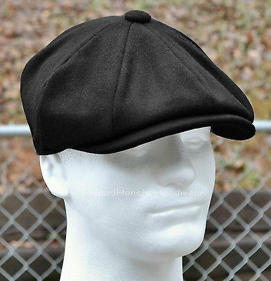 28372526e91 BLACK-WOOL-MELTON-GATSBY-CAP-Men-Newsboy-Ivy-Hat-Golf-Driving-Flat -Winter-Cabbie