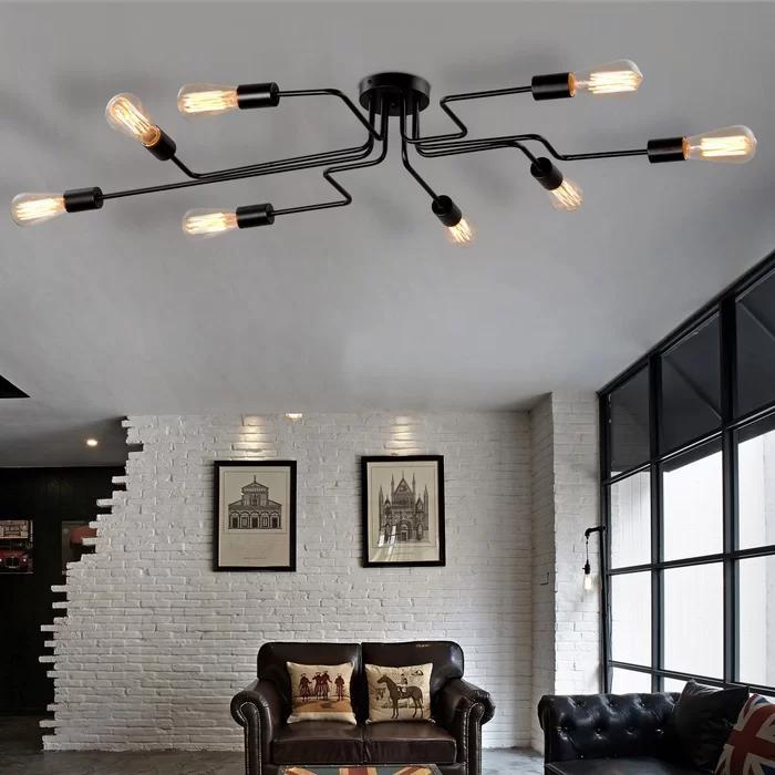 Wrought Studio Steel Art 8 Light Semi Flush Mount Reviews Wayfair Room Lights Living Room Lighting Semi Flush Ceiling Lights