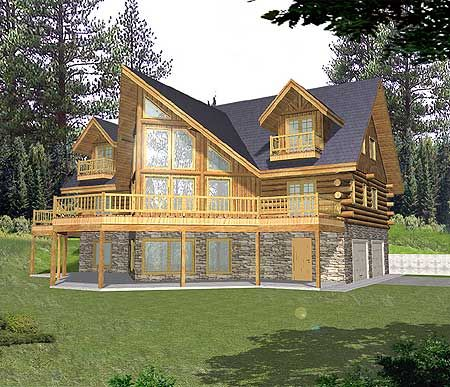 Plan 35128gh sloping lot mountain log home plan for Mountain home plans with walkout basement