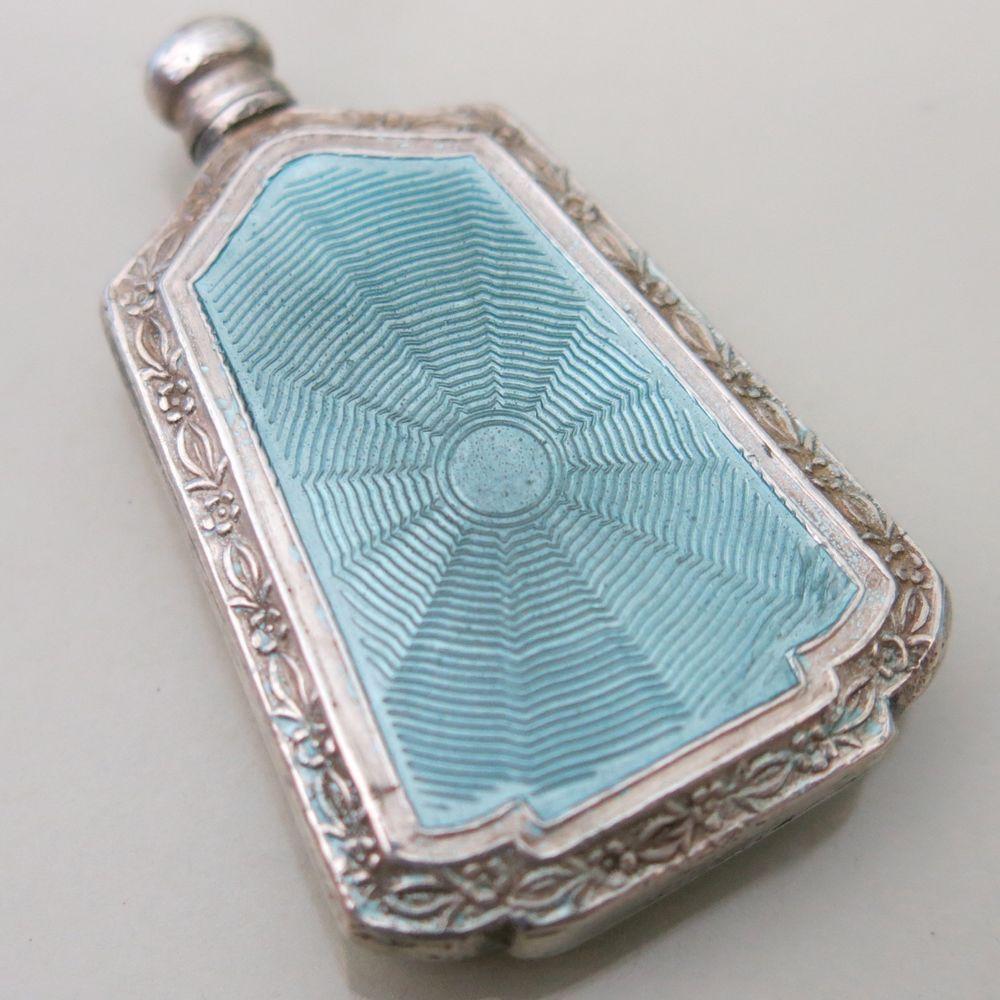 Vtg Art Deco Sterling Silver Guilloche Enamel Perfume Bottle
