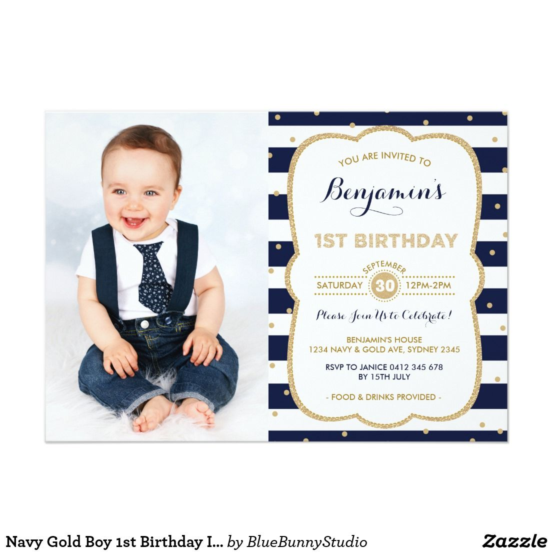 Navy Gold Boy 1st Birthday Invitation Prince Party | Children ...