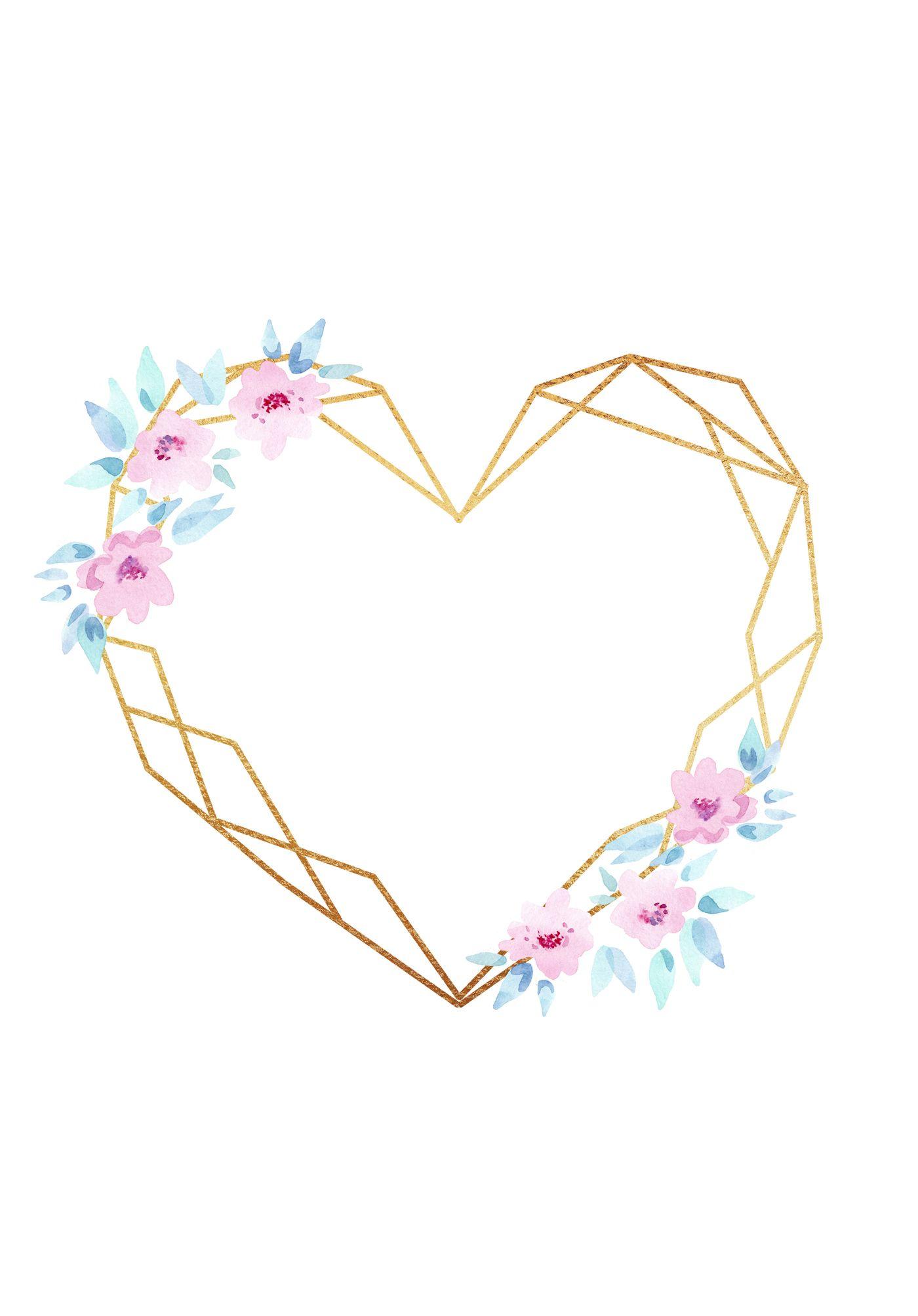 Gold Polygonal Floral Frames Clipart Crystal Frames Png For Etsy Floral Border Design Flower Frame Floral Wreaths Illustration