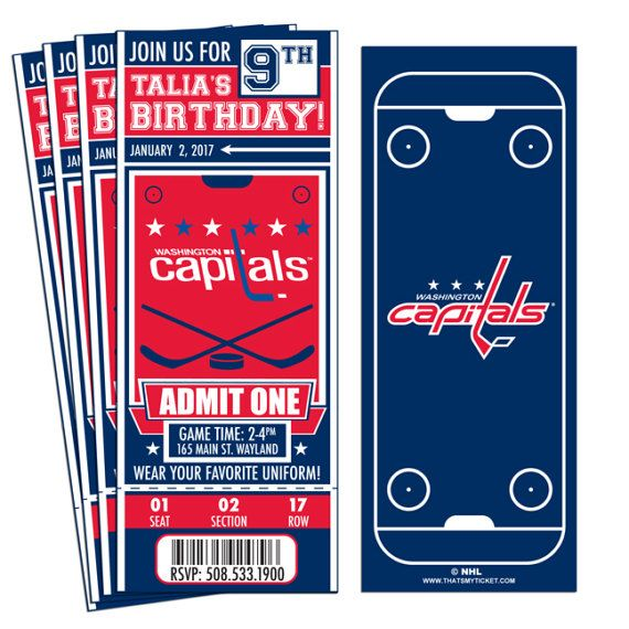 7a476069342 12 Washington Capitals Custom Birthday Party Ticket Invitations -  Officially Licensed by NHL