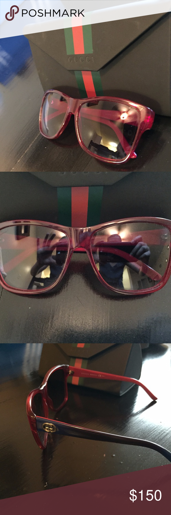 6f656097125c9 Gucci Sunglasses GG 3579 S Transparent Red Blue Gently used Gucci Shades!  Cool Red Blue color scheme Gucci Accessories Sunglasses