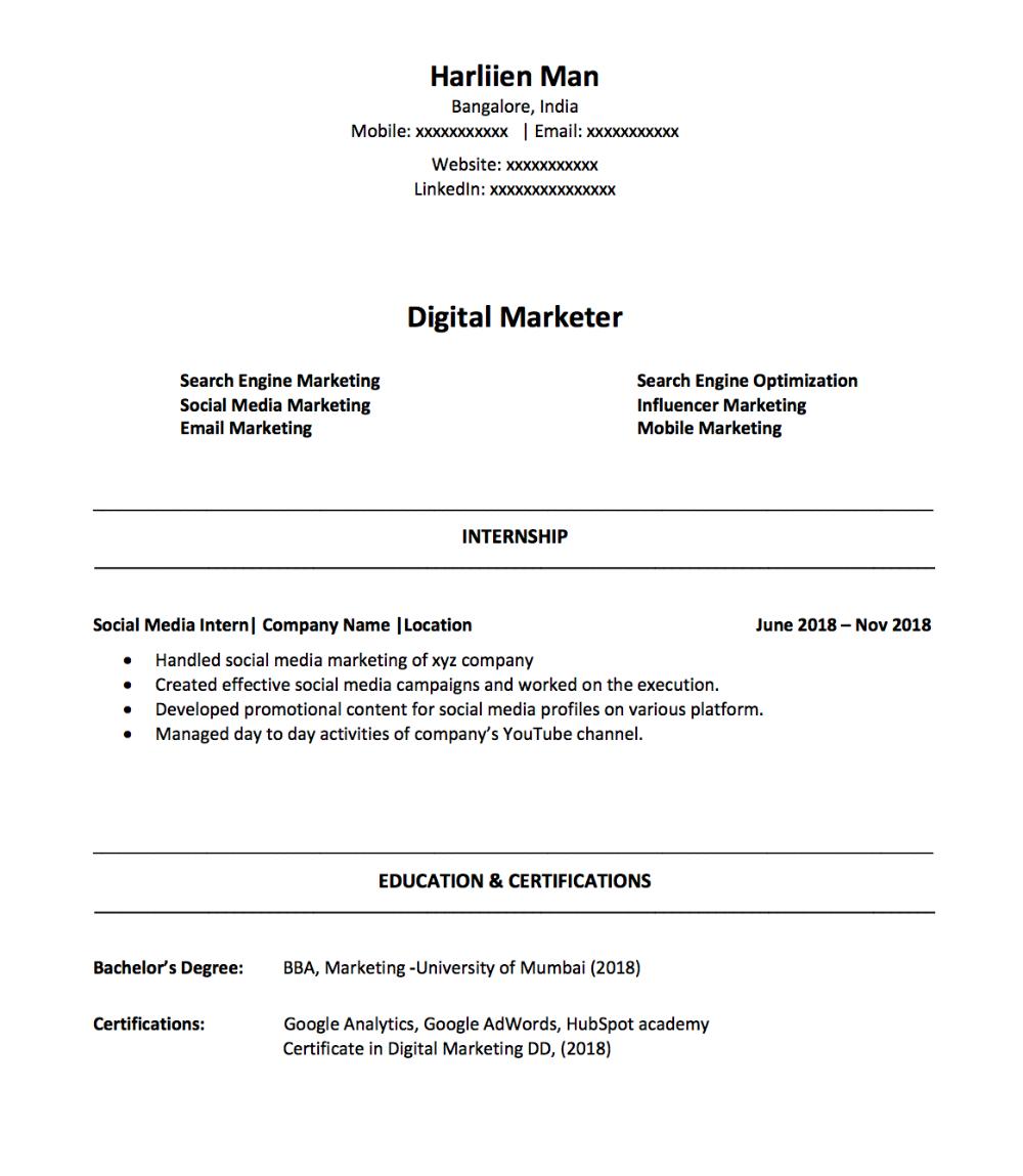 How To Make A Digital Marketing Resume As A Fresher In 2019 Marketing Resume Digital Marketing Online Digital Marketing