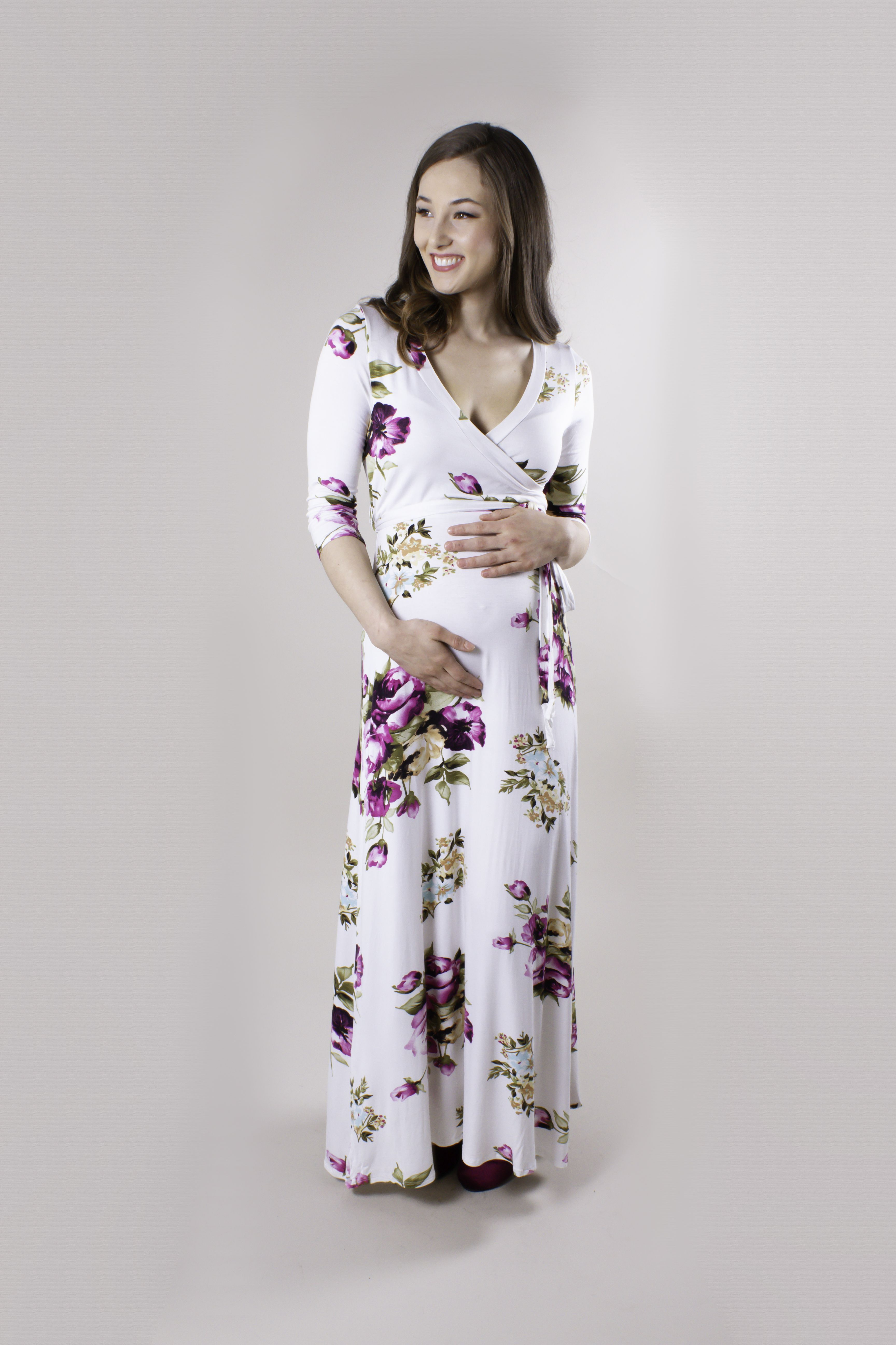 6b96e28c21b This Sexy Mama Maternity maxi pregnancy wrap dress will have all eyes on  you! With