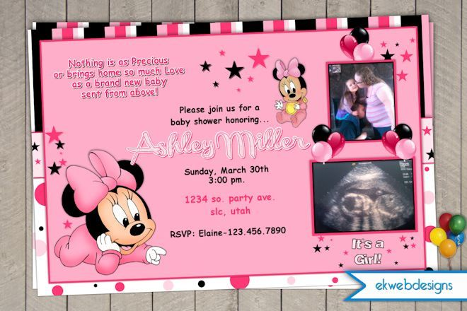 Minnie Mouse Baby Shower Invitation Its a Girl Baby Shower