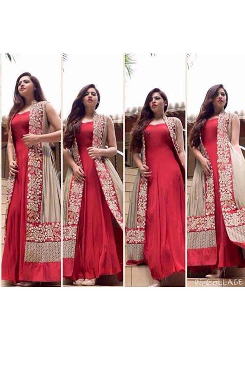 Red Georgette Anarkali Salwar Kameez with Dupatta
