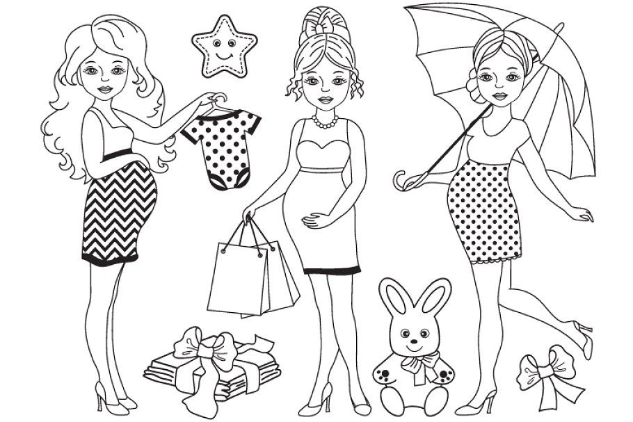 Pin By Deretor On Bebes Durmiendo In 2020 Coloring Pages For Girls Clip Art Pregnant Women