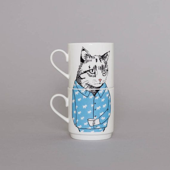 Show someone you think they're the cat's pajamas with this precious pair of stacking mugs. #etsyfinds #etsygifts #teamugs
