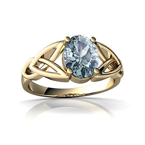 d6290b546fb 14kt Yellow Gold Aquamarine 8x6mm Oval Celtic Trinity Knot Ring Size 9      Read more reviews of the product by visiting the link on the image.