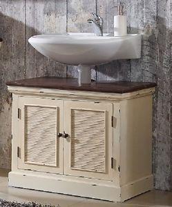 Waschbeckenunterschrank Badschrank Holz Paulownia Creme Vintage