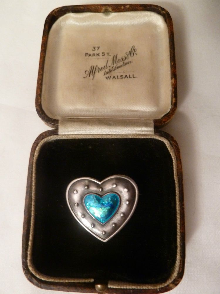 Stunning Rare Charles Horner Art Nouveau Silver  Enamel Heart Brooch  1910