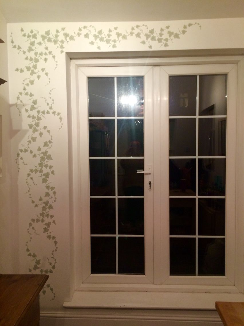 Ivy Stencil Around French Doors Farrow And Ball Paint