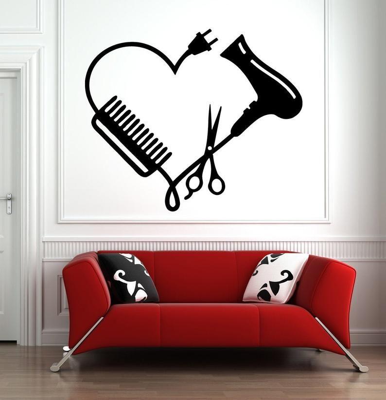 Hair Salon Wall Window Decal Sticker Hair Stylist Hair Tools | Etsy -   beauty Salon art